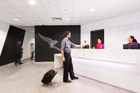 Man entering the Darwin first class lounge