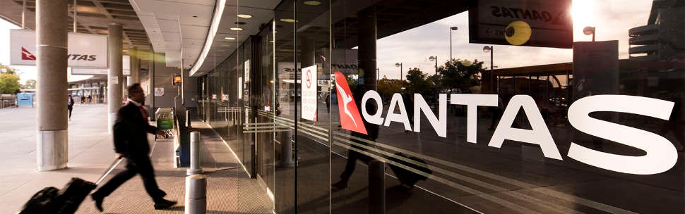 Brisbane domestic terminal entrance with Qantas logo