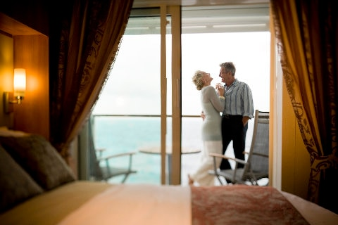 Happy couple on board a cruise ship