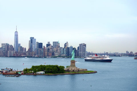 Cruise ship sailing through New York harbour