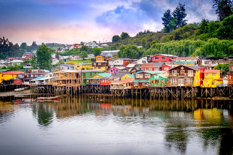 Colourful houses on waters edge