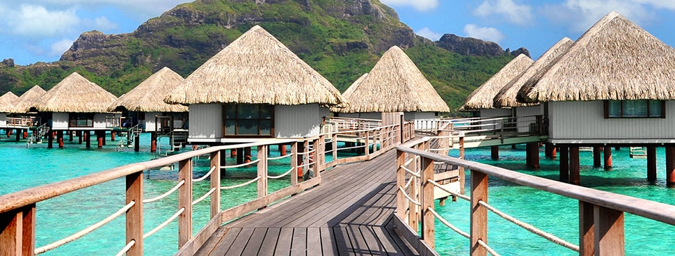 Huts on the water in Bora Bora