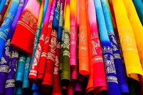 Colourful silk fabrics
