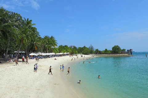 White beach on Sentosa Island, Singapore