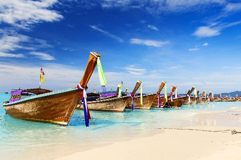 Boats on the beach in Thailand