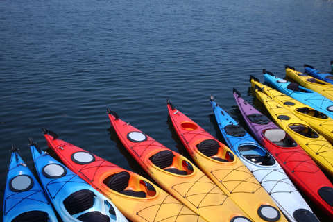 Colourful canoes on water