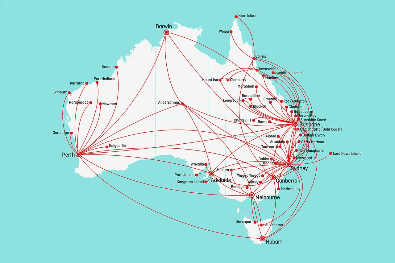 Australian map showing Qantas domestic network for December 2020