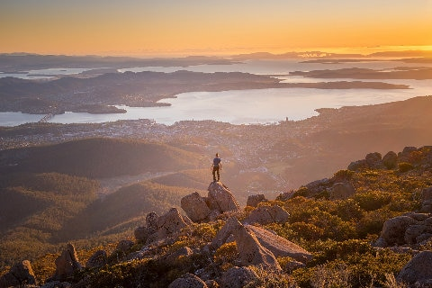 man on top of Mt Wellington