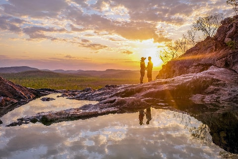 Couple watching sunset in Northern Territory