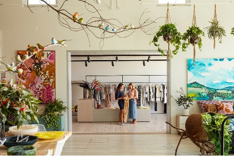 Boutique store with hanging plants