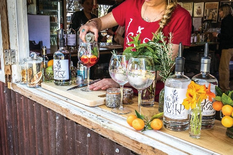Outdoor gin bar with fruits