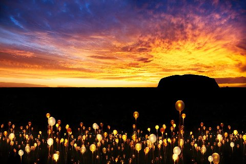 uluru field of lights at sunset