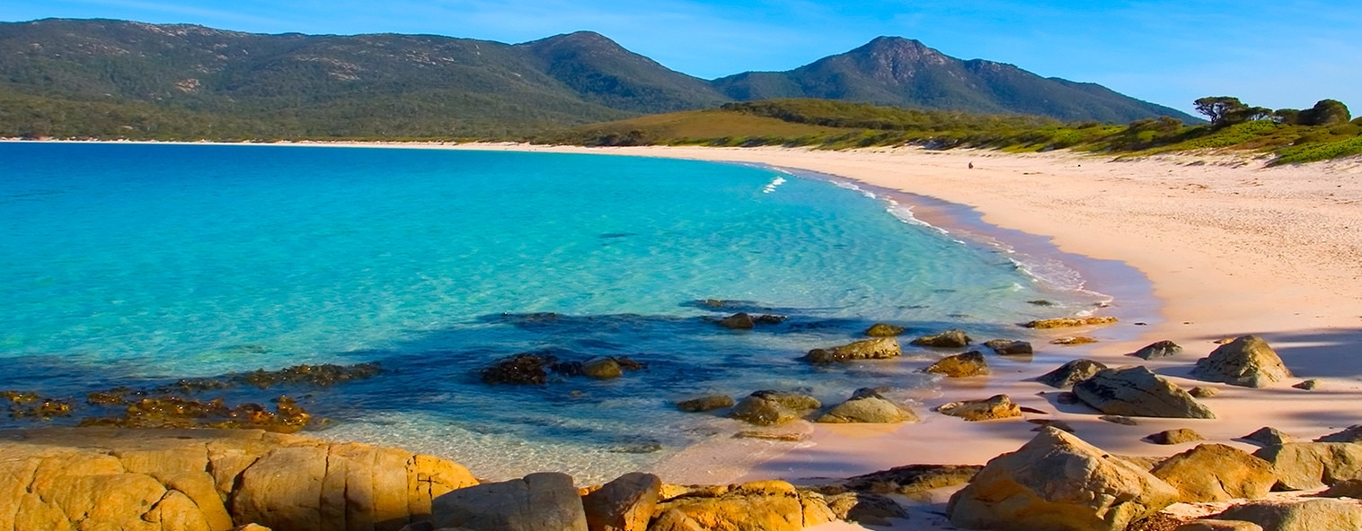 Wineglass bay, Tasmania. White sandy beach with crystal blue sea