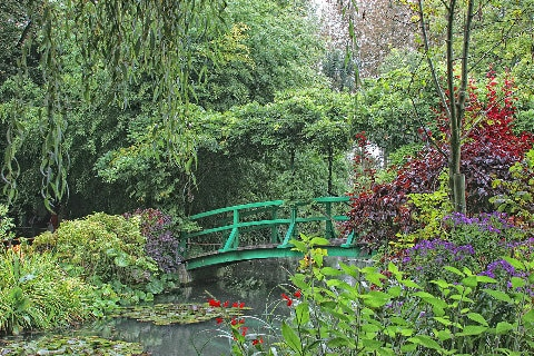 Green bridge over Monet's garden