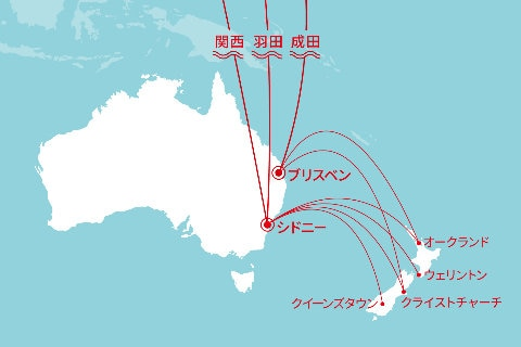 Japan-Australia-New Zealand Route Map
