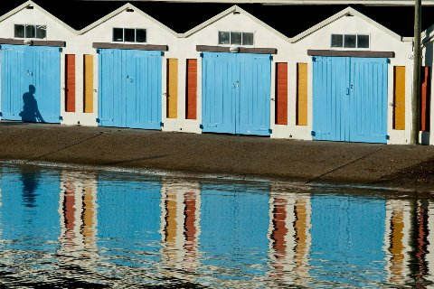 Blue boatsheds in Wellington