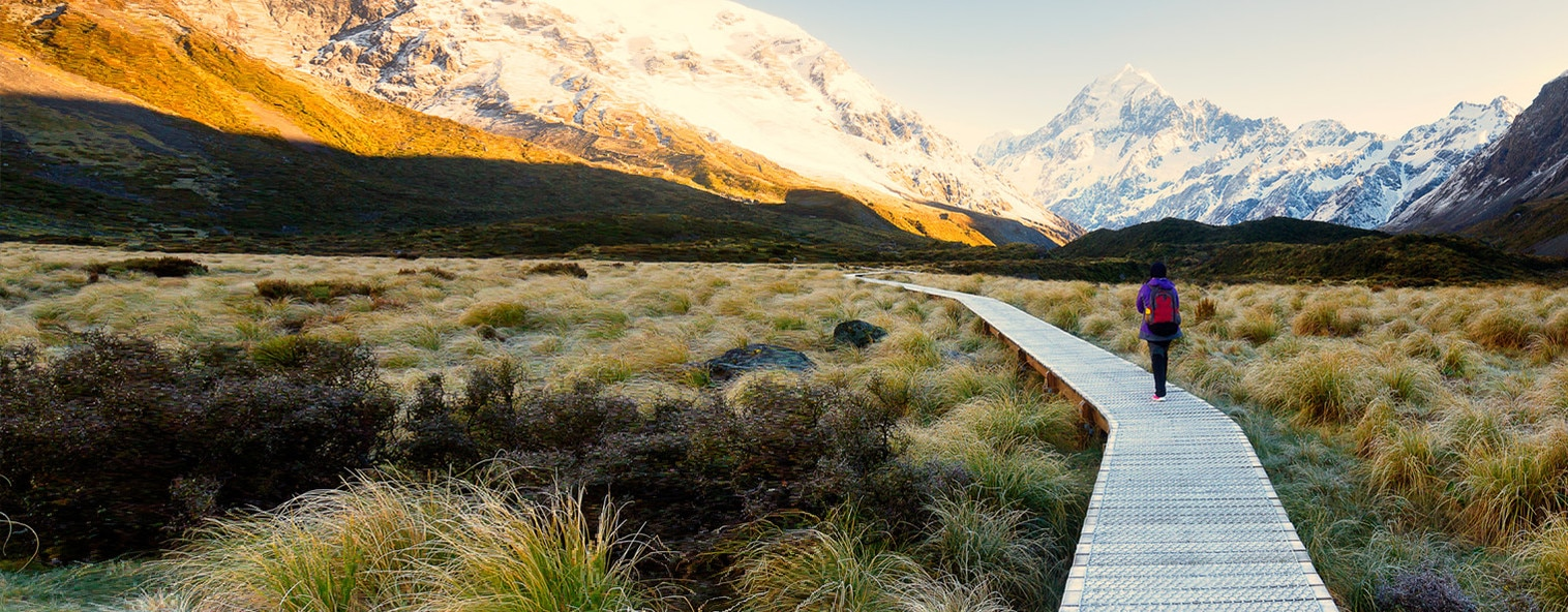 Hiking in the Hooker Valley Track, New Zealand