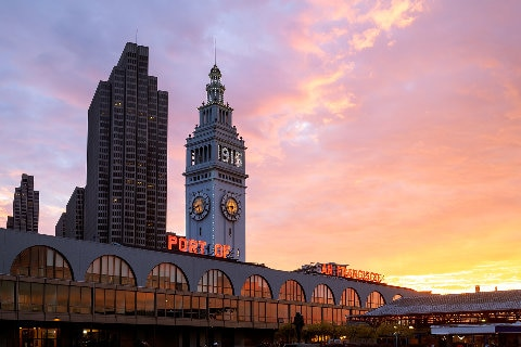 Port of San Fran terminal building and clock