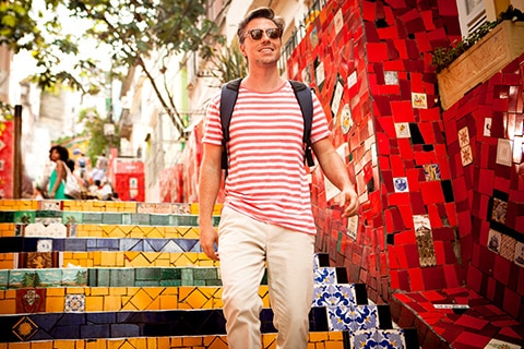 Male tourist walking in the city