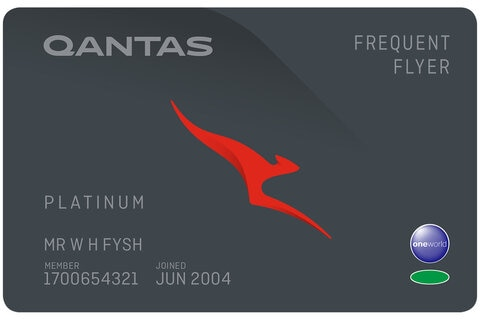 Platinum Frequent Flyer membership card