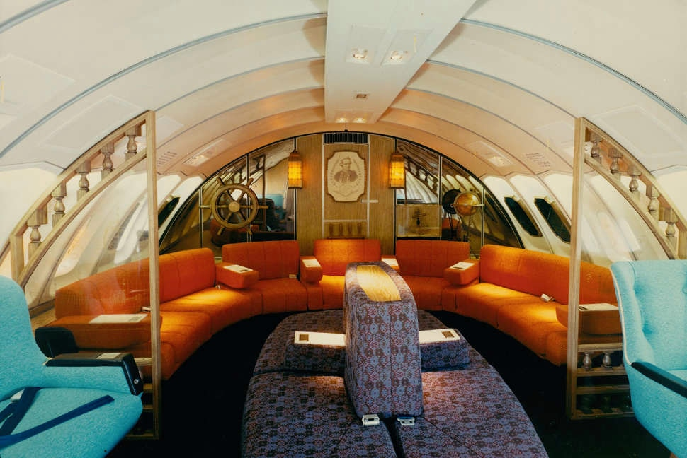 Interior of the Qantas plane the Captain Cook