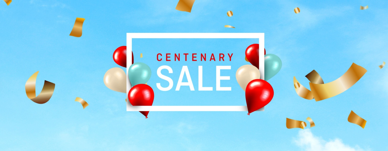 Centenary Sale logo with Balloon and golden tape surrounding