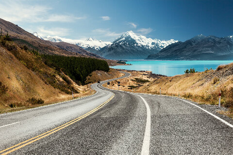 Coastal road and mountains, New Zealand
