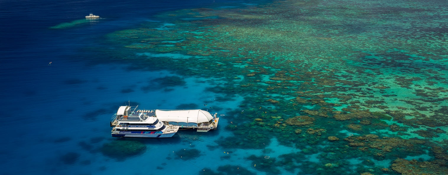 Aerial view of Quicksilver on the Great Barrier Reef