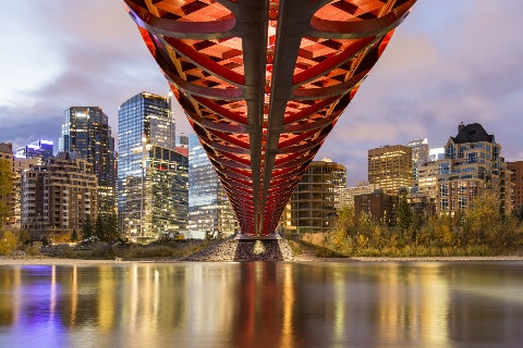 Peace Bridge over Bow River of Calgary