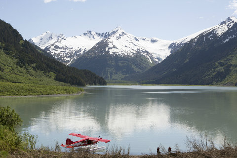 Lake and mountains at Anchorage, Alaska