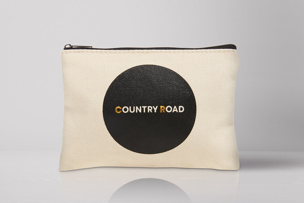 Country Road Premium Economy amenity kits, available on selected flights