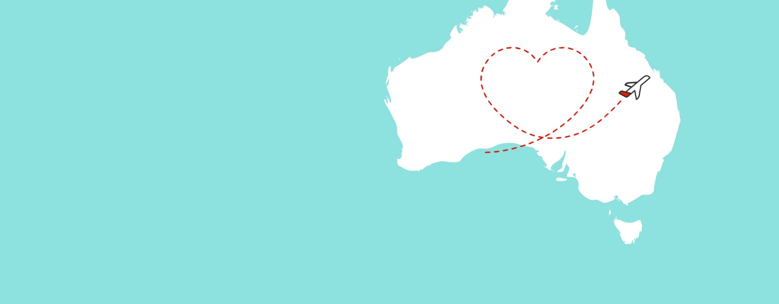 Map of Australia with plane doing loops in a love heart shape