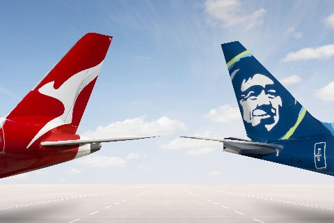 Qantas and Alaska Airlines tails