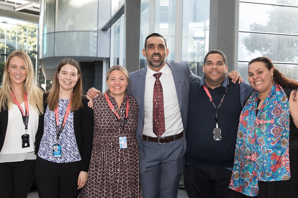 Adam Goodes with Qantas employees