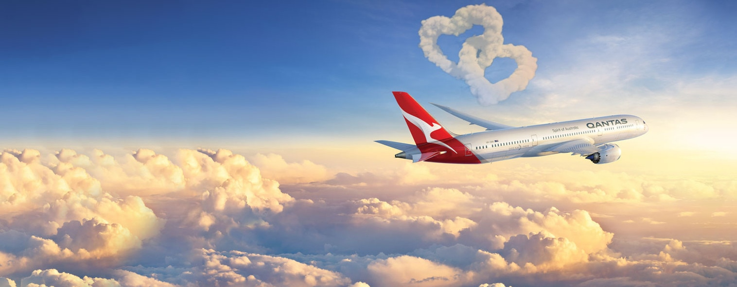 Qantas Dreamliner in the air