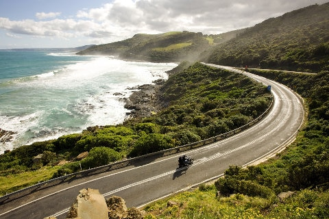 Motorbiking along the coast by The Otway National Park