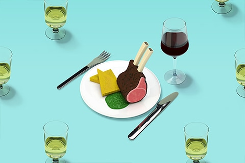 Illustration of lamb dinner with red wine