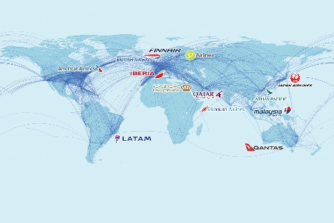 oneworld alliance map